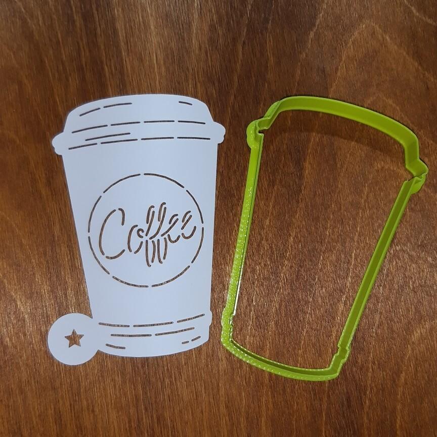 """Форма для пряника """"Стаканчик Кофе №1"""" (6,5х10 см) с трафаретом"""