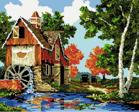Алмазная мозаика 40x50 - Водяная мельница