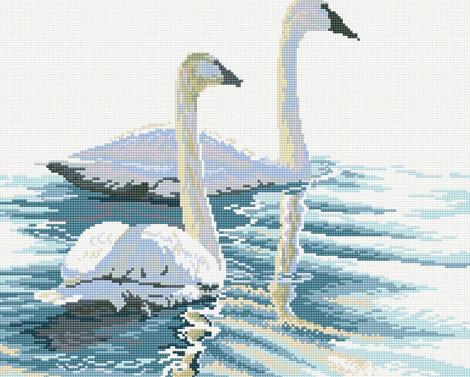 Алмазная мозаика 40x50 - Лебеди