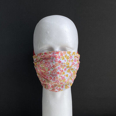 Coral Floral Stripes Adjustable Reusable Cloth Face Mask