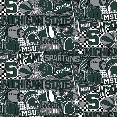 College Michigan State University Spartans Pop Art Adjustable Reusable Cloth Face Mask
