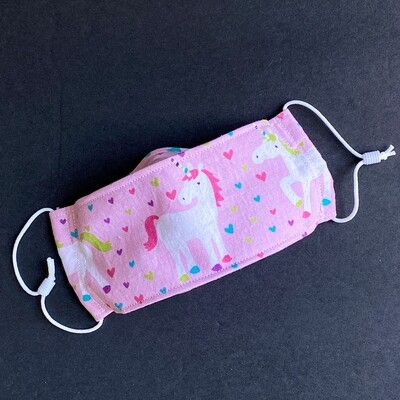 READY TO SHIP EasyFit Unicorns and Hearts Adjustable Reusable Cloth Face Covering