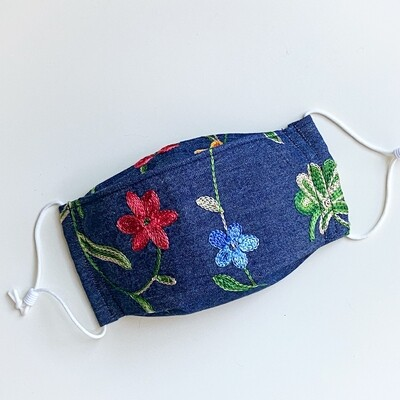 READY TO SHIP EasyFit Embroidered Flowers on Denim Adjustable Reusable Cloth Face Covering