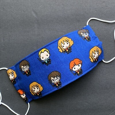 READY TO SHIP EasyFit Harry Potter Kawaii Faces on Blue Adjustable Reusable Cloth Face Covering