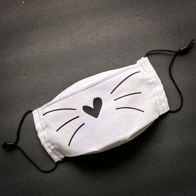 READY TO SHIP EasyFit Cat Whiskers on Light Gray Adjustable Reusable Cloth Face Covering