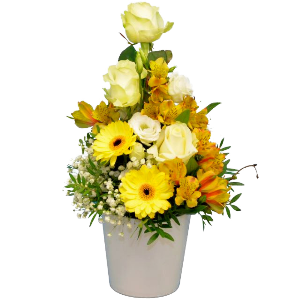 Aranžmán s bielymi ružami so žltou gerberou