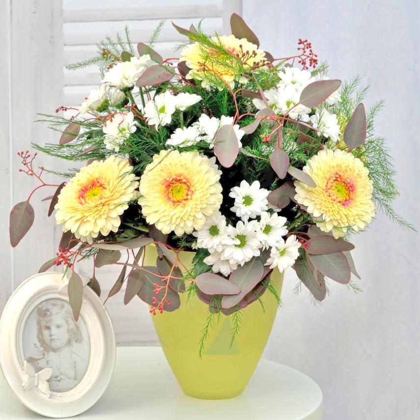 Vanilková kytica s krémovými gerberami