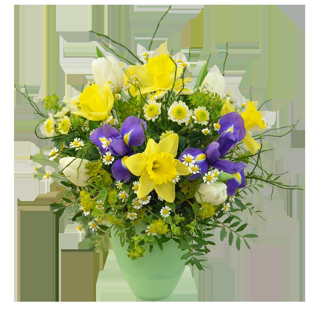 Modro-žltá kytica s narcismi a irisom