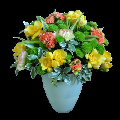 Zeleno-žltá kytica s fréziami