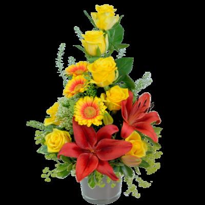 Kytica žltých ruží s červenou ľaliou v keramike