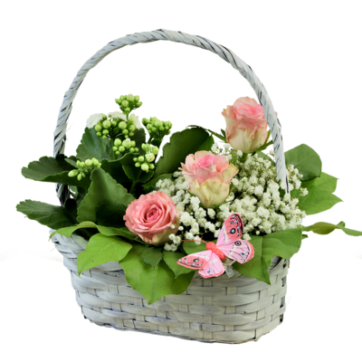 Ruže v košíku s črepníkovým kalanchoe
