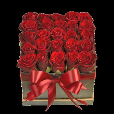 Krabička plná červených ruží