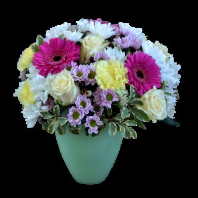 Bielo-ružová kytica s bielymi ružami