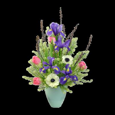 Nežná kytica s modrým irisom