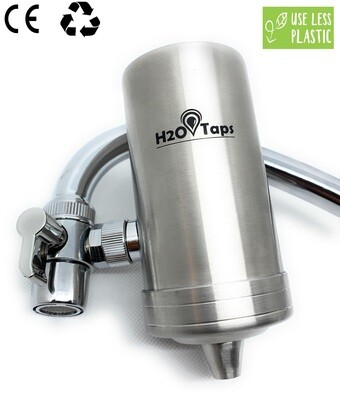 TAP Water Filter - Stainless Steel - Elegant Design - 1 cartridge included - 3 months of filtered water