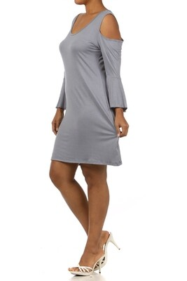 GREY long bell sleeve dress