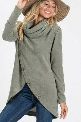 CHANNEL TURTLE NECK TOP WITH BUTTON TRIM