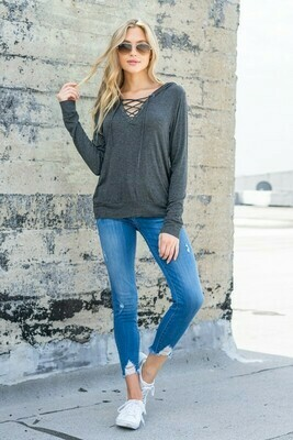Eyelet Trim Criss Cross Lace up V Nk Hoodie BLK.