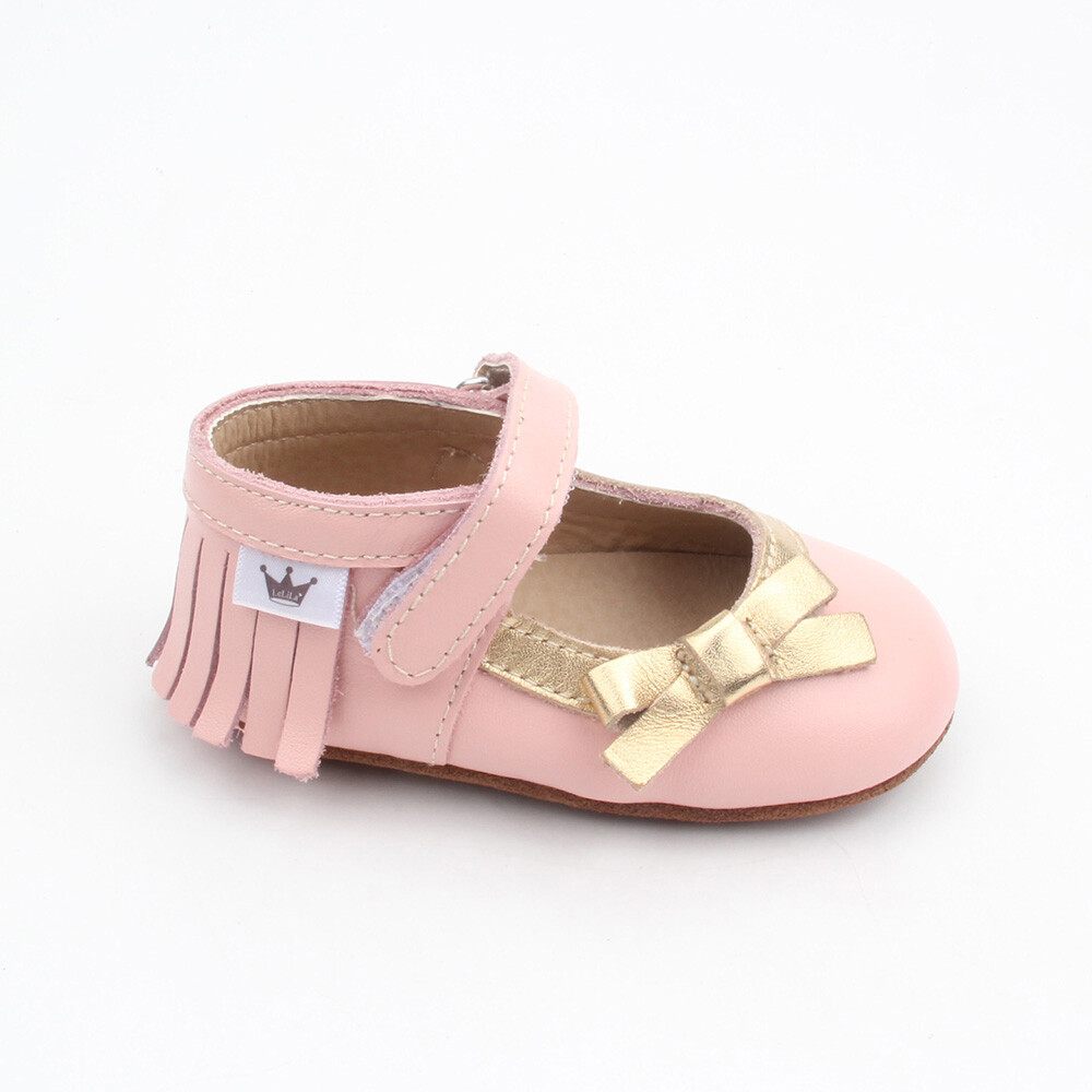Moccasins - Mary Jane Bow - Pink
