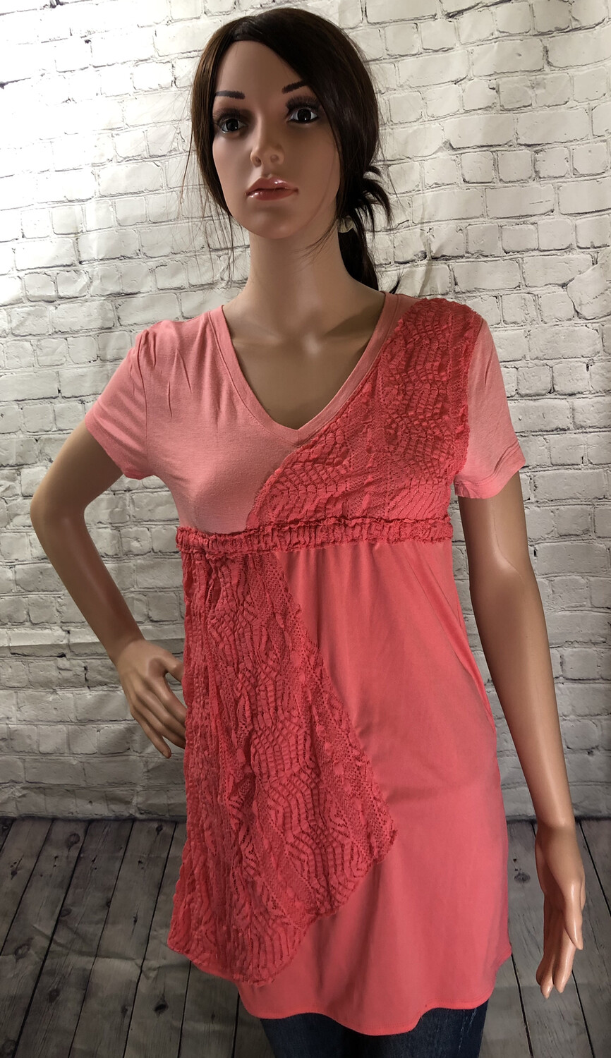 Coral Appliqué Lace Upcycled Top