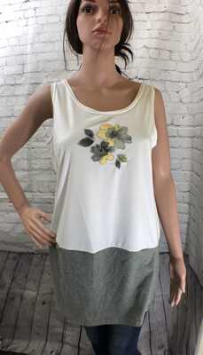 Embroidered Cotton Floral Upcycled Top