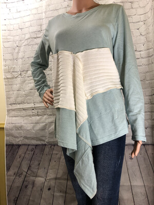 Heather Blue Long Sleeve Top With Sweater Inlay