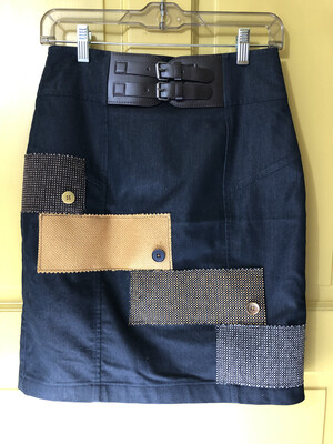 Jean Skirt With Fabric Samples Upcycled