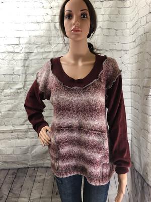Burgundy Gray Sweater W Pocket Pouch