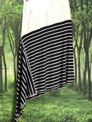 White W Navy Striped Asymmetrical Skirt