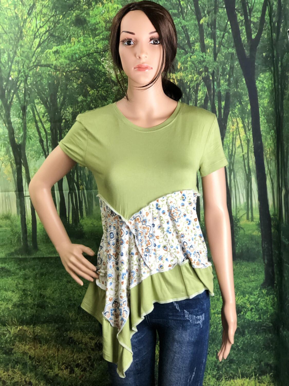 Green Short Sleeve Paisley Print