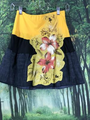 Jean Appliqué Flower Skirt