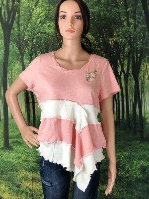 Pink And White Layer Top