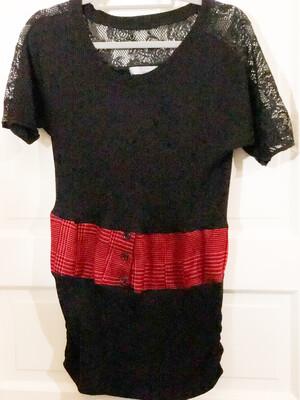 Black Lace Sweater W Red Plaid Stripe