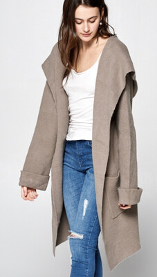Be Cool Relaxed Fit Hooded Cardigan Mocha