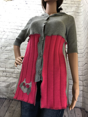 Pink Sweater With Owl Upcycled Materials