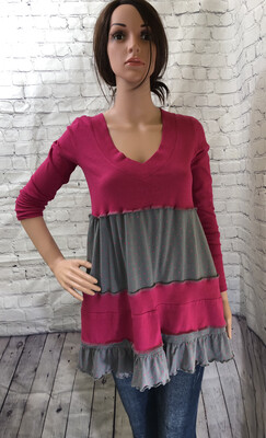 Hot Pink Sweater With Gray Polkadots