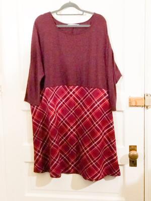 Upcycled Plaid Print Dress