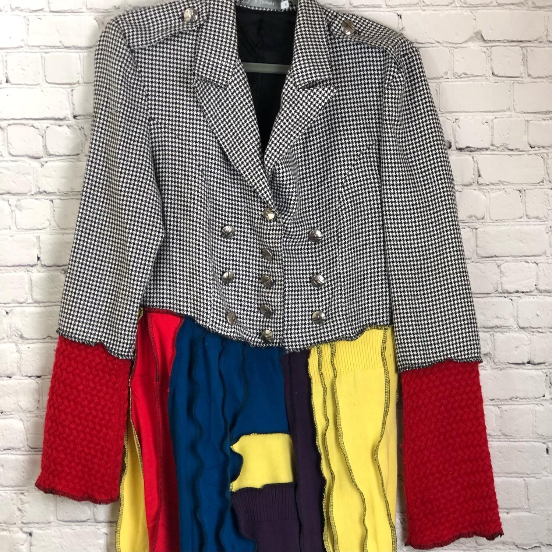 Houndstooth Print Jacket Upcycled Sweater Jacket