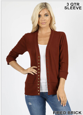 Fired Brick Snap Button Cardigan