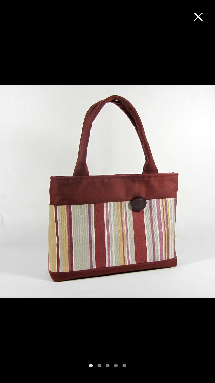 Handmade Purse Striped Red Handbag
