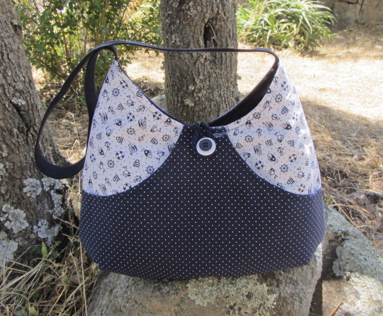 Handmade Purse Navy & White polka dots