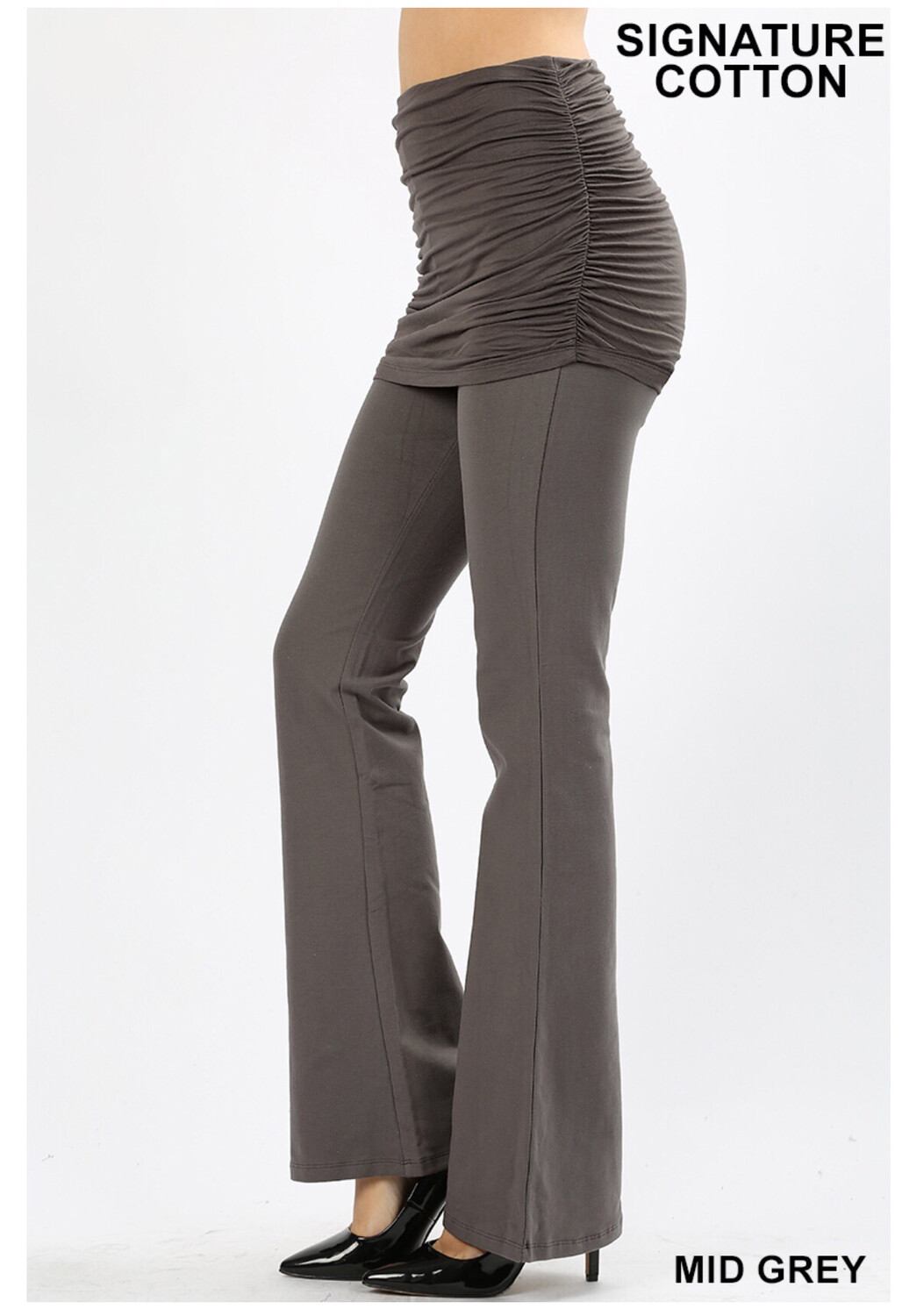 Cotton Flare Pant Gray W Skirt Top