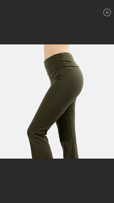 Cotton Flare Pant Olive Green W Yoga Band