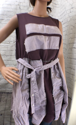 Plum Sleeveless Top With Button Up Pieces