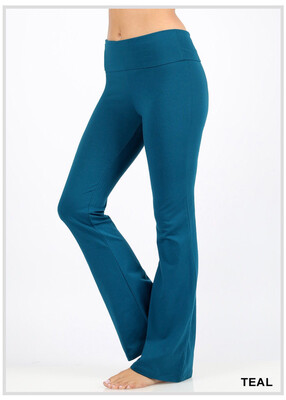Cotton Flare Pant Teal W/ Yoga Band