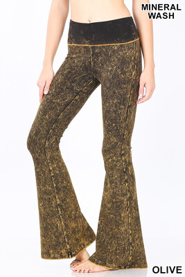 Cotton Flare Pant Mineral Wash Olive Yoga