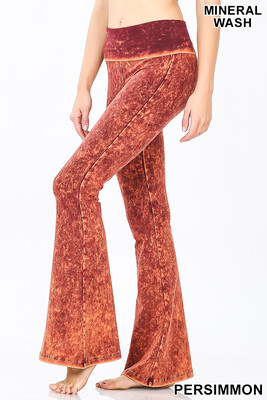 Cotton Flare Pant Mineral Wash Persimmon Yoga