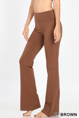 Cotton Flare Pant Lt Brown W Yoga Band