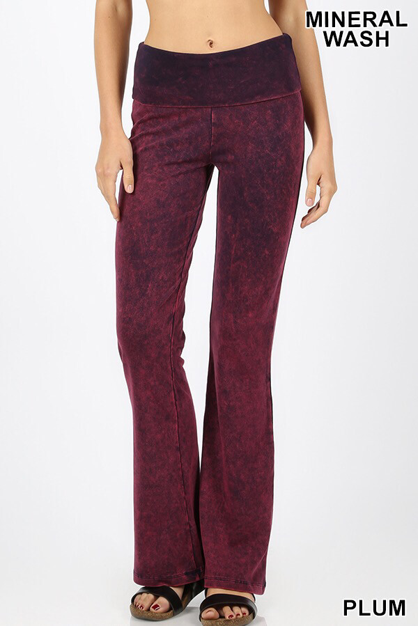 Cotton Flare Mineral Wash Plum W Yoga Band