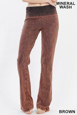 Cotton Flare Mineral Wash Brown Pant W Yoga Band